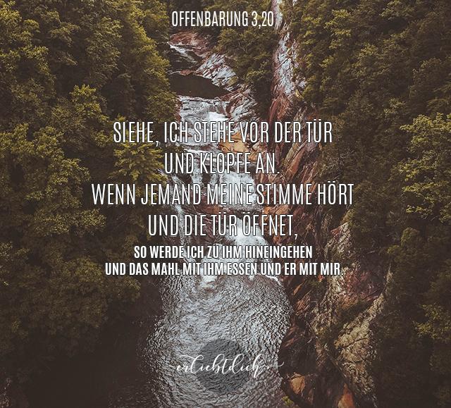 Bibelspruch für den Alltag - Offenbarung 3,20