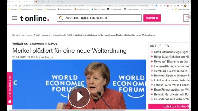 Merkel plädiert für Neue Weltordnung!
