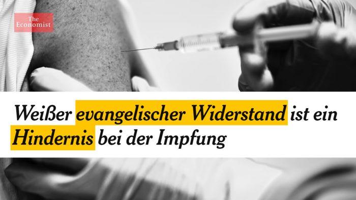 Weißer evangelischer Widerstand ist ein Hindernis bei der Impfung!